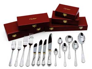 Sterling silver Cartier flatware.