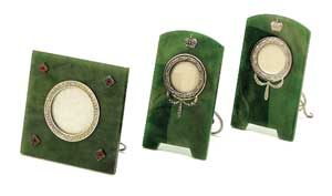Nephrite and silver picture frames.