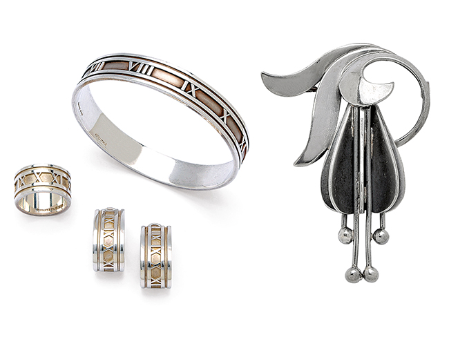 Sterling silver 'Atlas' bangle, ring, and ear clips by Tiffany & Co. Sterling silver brooch by Georg Jensen.