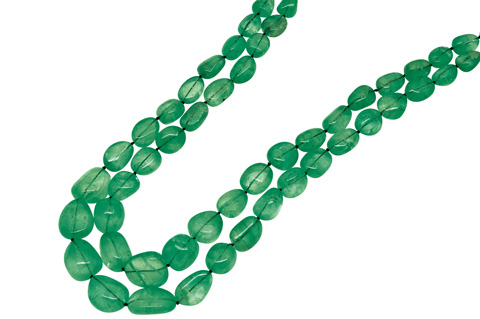 Double-strand Columbian emerald beads necklace