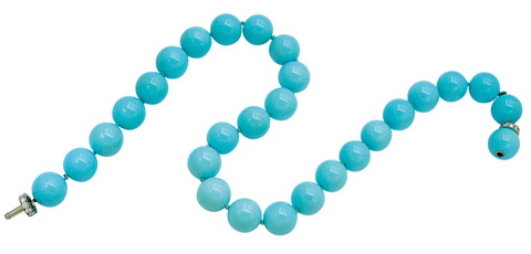 Single strand of 28 turquoise beads