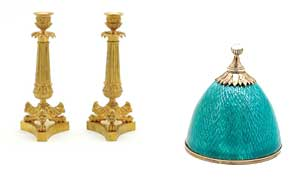 Gold-palted candlesticks. Turquoise enamel and silver perfume bottle.