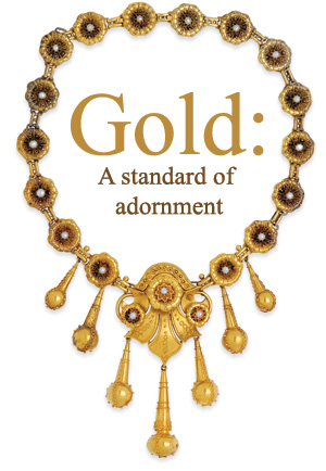 revival 14-karat gold necklace, circa 1870
