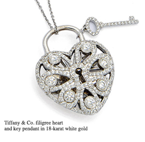 Tiffany & Co. heart and key pendant