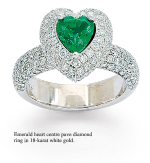 Emerald heart pave diamond ring