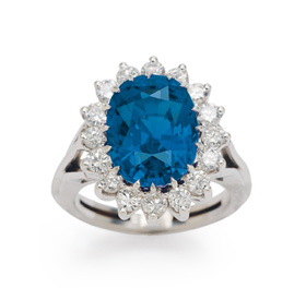 Sapphire and diamond 'Lady Di' style ring, set in 18-karat white gold.