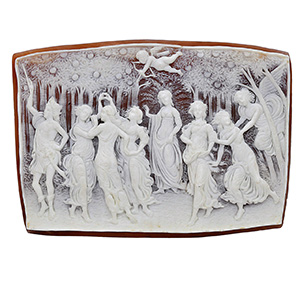 A 1970's unmounted cameo plaque carved after the painting 'Primavera' by Sandro Bottecelli and signed by Nino Ammendola.