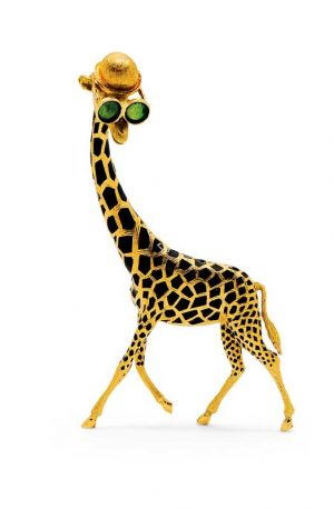 A charming giraffe brooch by Birks sporting a jaunty cap and oversized sunglasses. The piece features 18-karat gold with black enamel patches.