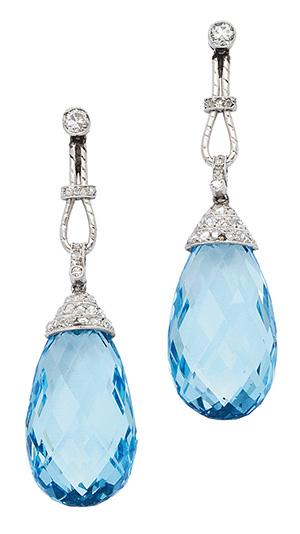 Pair of Belle Époque Aquamarine, Diamond and Platinum Ear Pendants