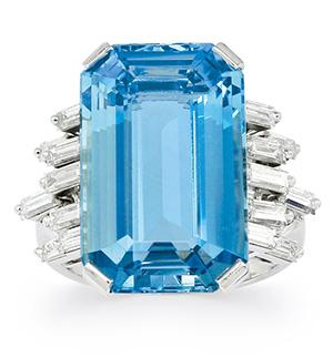 Aquamarine, Diamond and Platinum Ring by Cartier